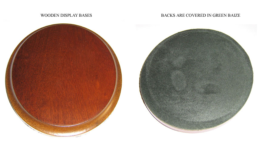 WOODEN DISPLAY BASES - 15.50cm x 13.50cm Oval with bevelled edge - the back is covered in green baize